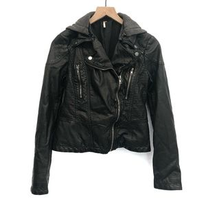 Free People Black Faux Leather Jacket - Size 4
